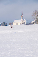The church in Berikon in the snow, Aargau, Switzerland