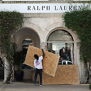 The Ralph Lauren store in exclusive Worth Avenue in Palm Beach is boarded up Wednesday October 5, 2016, as they get ready for the arrival of Hurricane Matthew. Warnings are in place along much of Florida's Atlantic coastline, for Category 3 Hurricane Matthew.<br />