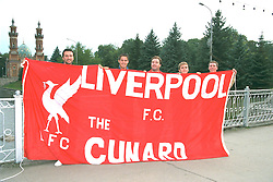 VLADIKAVKAZ, RUSSIA - Monday, September 11, 1995: Liverpool supporters with Neil Ruddock and Jamie Redknapp on a bridge over the Terek River before the UEFA Cup 1st Round 1st Leg match against FC Alania Spartak Vladikavkaz. (Photo by David Rawcliffe/Propaganda)