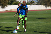 Forest Green Rovers Shamir Mullings(14) warming up during the Pre-Season Friendly match between SC Farense and Forest Green Rovers at Estadio Municipal de Albufeira, Albufeira, Portugal on 25 July 2017. Photo by Shane Healey.