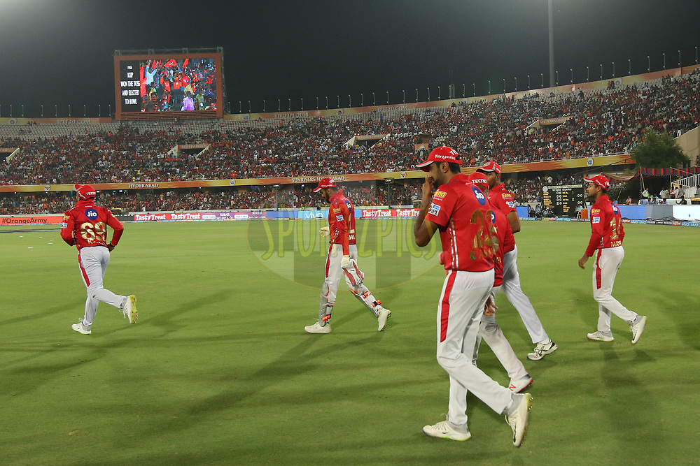 Kings Xi Punjab players entering the field of play during match twenty five of the Vivo Indian Premier League 2018 (IPL 2018) between the Sunrisers Hyderabad and the Kings XI Punjab  held at the Rajiv Gandhi International Cricket Stadium in Hyderabad on the 26th April 2018.<br /> <br /> Photo by Saikat Das /SPORTZPICS for BCCI