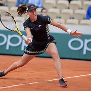 PARIS, FRANCE June 07.  Johanna Konta of Great Britain in action against Marketa Vondrousova of the Czech Republic on Court Simonne-Mathieu during the Women's Singles Semifinals match at the 2019 French Open Tennis Tournament at Roland Garros on June 7th 2019 in Paris, France. (Photo by Tim Clayton/Corbis via Getty Images)