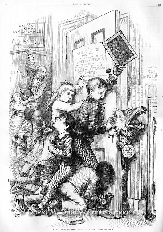 """Tilden's Wolf at the Door, Gaunt and Hungry, Don't let him in"" Democratic vs Republican Politics and Public Education by Thomas Nast Politics  Illustration from Harper's Weekly September 16, 1876"