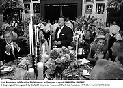 Saul Steinberg celebrating his birthday in Quogue. August 1989. Film 89558f23<br />