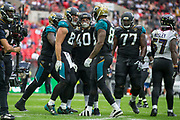 Jacksonville Jaguars celebrate scoring another touchdown during the International Series match between Baltimore Ravens and Jacksonville Jaguars at Wembley Stadium, London, England on 24 September 2017. Photo by Jason Brown.