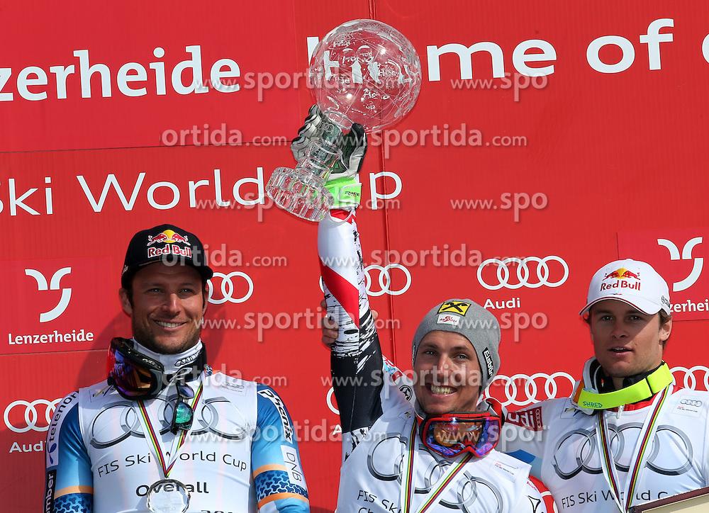 16.03.2014, Pista Silvano Beltrametti, Lenzerheide, SUI, FIS Weltcup Ski Alpin, Lenzerheide, Podium Weltcup Gesamtsieger, im Bild Marcel Hirscher (m, AUT), Aksel Lund Svindal (l, NOR), Alexis Pinturault (FRA) // Marcel Hirscher (m , AUT), Aksel Lund Svindal (l , NOR), Alexis Pinturault (FRA) during Ceremony of the FIS Ski Alpine World Cup Mens Overall at the Pista Silvano Beltrametti in Lenzerheide, Switzerland on 2014/03/16. EXPA Pictures &copy; 2014, PhotoCredit: EXPA/ Sammy Minkoff<br /> <br /> *****ATTENTION - OUT of GER*****