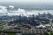 Nederland, Noord-Holland, IJmuiden , 09-04-2014; IJmuiden Steel Works van Tata Steel, Walserijen (voorgrond) en de  Hoogovens.<br /> IJmuiden Steel Works, part of Tata Steel. <br /> luchtfoto (toeslag op standard tarieven);<br /> aerial photo (additional fee required);<br /> copyright foto/photo Siebe Swart