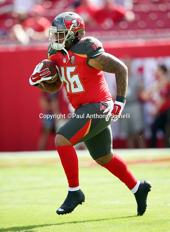 Tampa Bay Buccaneers fullback Jorvorskie Lane (46) returns a kick while warming up before the 2015 week 14 regular season NFL football game against the New Orleans Saints on Sunday, Dec. 13, 2015 in Tampa, Fla. The Saints won the game 24-17. (©Paul Anthony Spinelli)