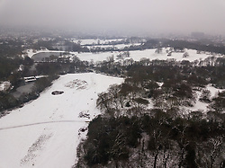What could be a rural scene is actually Hampstead Heath, with the London skyline hidden by the fog and freezing rain as three inches of snow covers the ground in North London. Hampstead, London, February 01 2019.