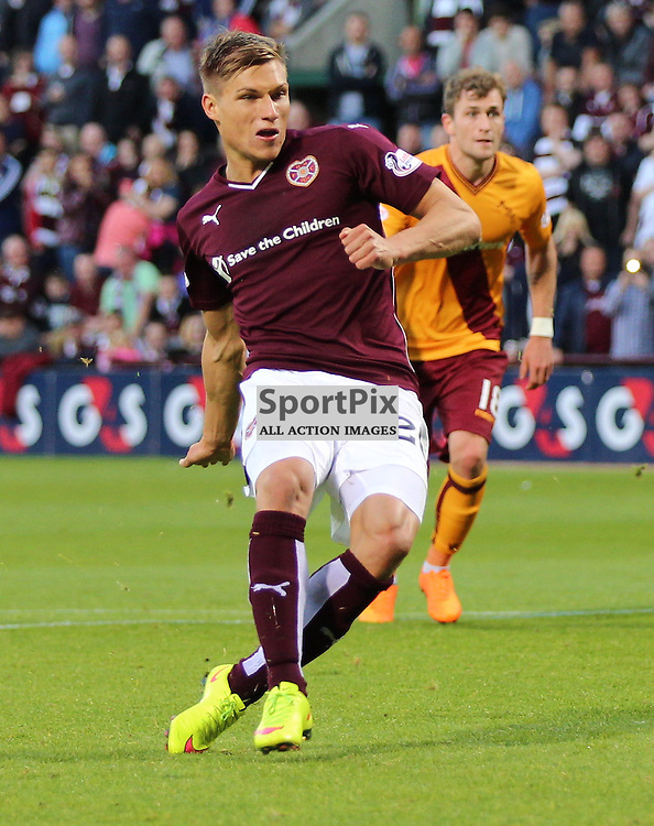 Hearts v Motherwell Scottish Premiership 12 August 2015; Gavin Reilly (Hearts, 20) scores during the Heart of Midlothian v Motherwell Scottish Premiership match played at Tynecastle Stadium, Edinburgh; <br /> <br /> &copy; Chris McCluskie | SportPix.org.uk
