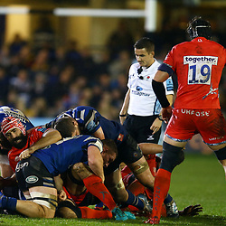 Josh Strauss of Sale Sharks during the Gallagher Premiership match between Bath Rugby and Sale Sharks at the The Recreation Ground Bath England.2nd December 2018,(Photo by Steve Haag Sports)