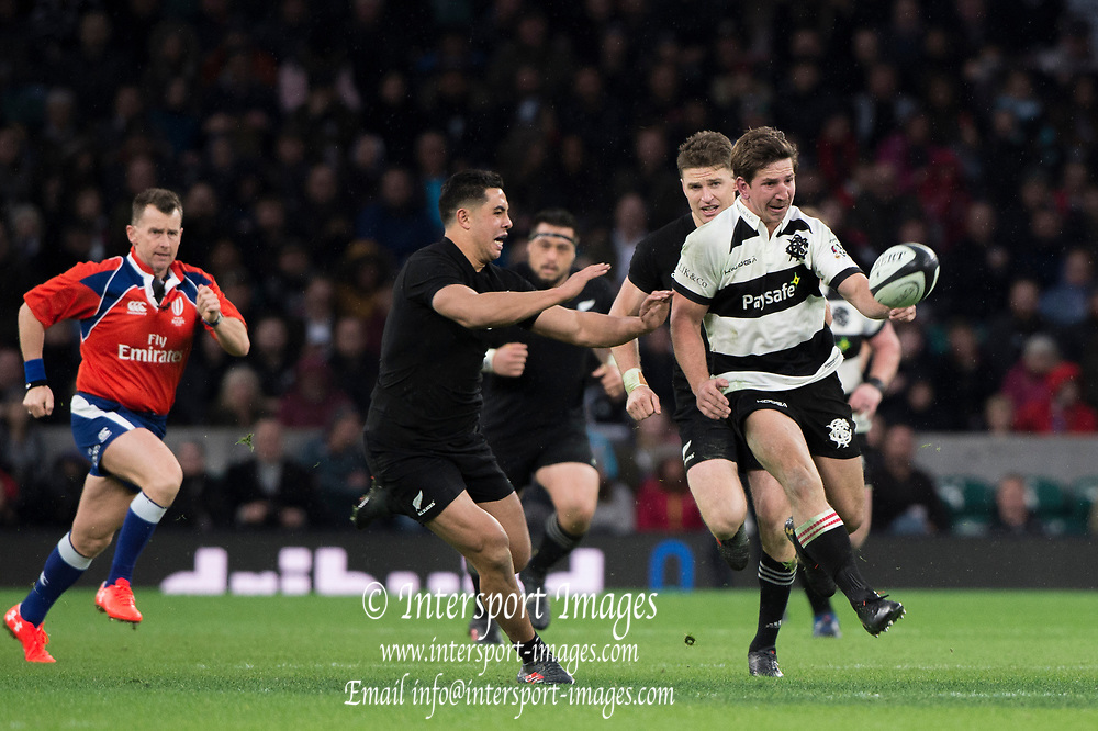Twickenham, Surrey. England.  Ardie SAVEA, kick's  through   during the Killik Cup, Barbarians vs New Zealand. Twickenham. UK<br /> <br /> Saturday  04.11.17<br /> <br /> [Mandatory Credit Peter SPURRIER/Intersport Images]