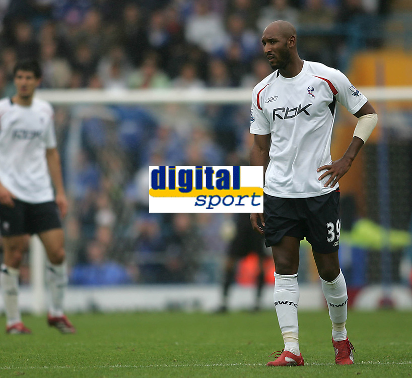 Photo: Lee Earle.<br /> Portsmouth v Bolton Wanderers. The FA Barclays Premiership. 18/08/2007.Bolton's Nicolas Anelka looks dejected after losing to Portsmouth.