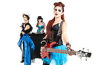 Beautiful all female rock band over white background