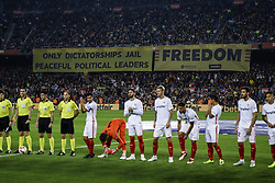 October 20, 2018 - Barcelona, Catalonia, Spain - FC Barcelona fans claiming freedom for catalan political prisoners and slogans ''Only dictatorships jail paceful political leaders'' during the La Liga match between FC Barcelona v Sevilla FC at Camp Nou Stadium, in Barcelona on 20 of October, 2018. (Credit Image: © Xavier Bonilla/NurPhoto via ZUMA Press)