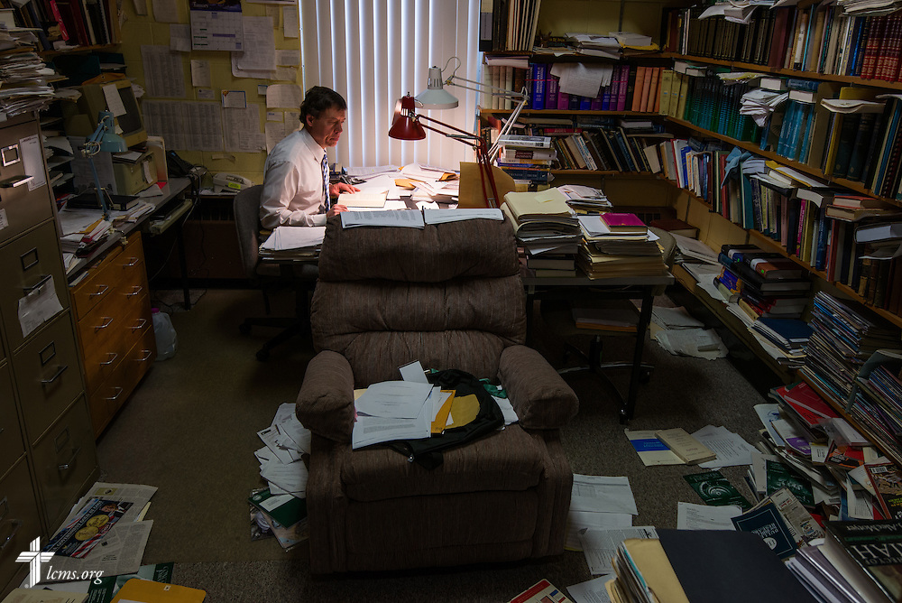 Dr. Walter Maier III, associate professor of exegetical theology at Concordia Theological Seminary, works at his desk on Monday, Jan. 20, 2014, in Fort Wayne, Ind. LCMS Communications/ Erik M. Lunsford