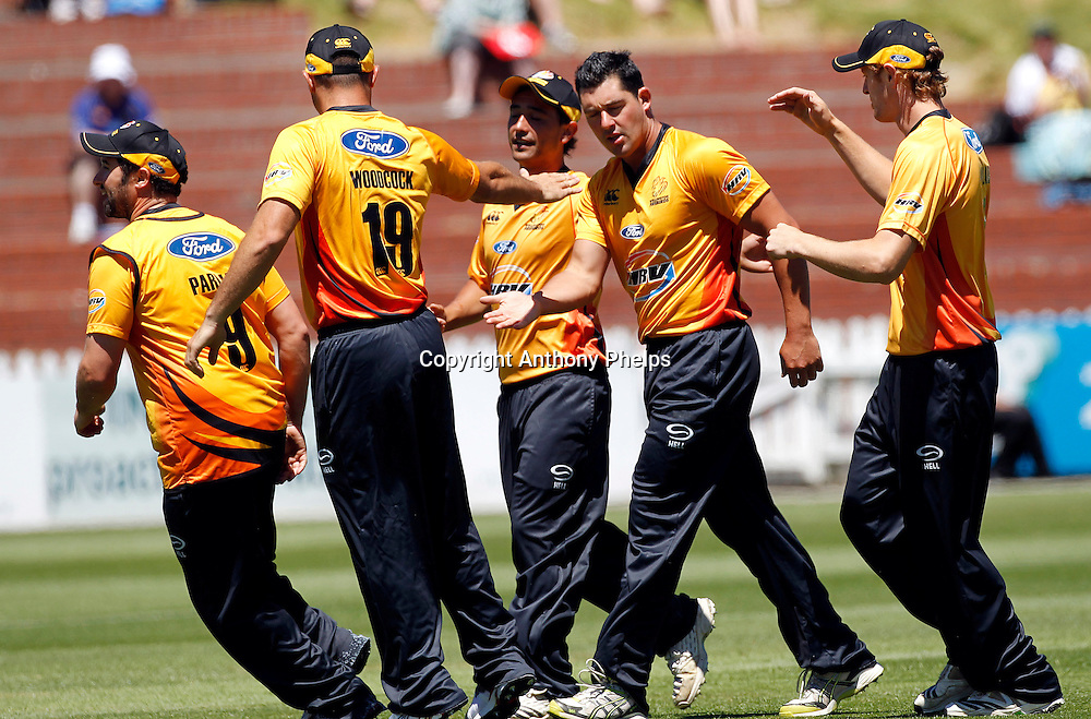 Firebirds' DeWayne Bowden celebrates a wicket during their win in the Twenty20 Cricket - HRV Cup, Firebirds v Volts at the Basin Reserve, Wellington, 04 December 2010. Photo: Anthony Phelps/PHOTOSPORT