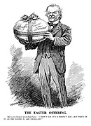 """The Easter Offering. Mr. Lloyd George (fresh from Paris). """" I don't say it's a perfect egg; but parts of it, as the saying is, are excellent."""""""