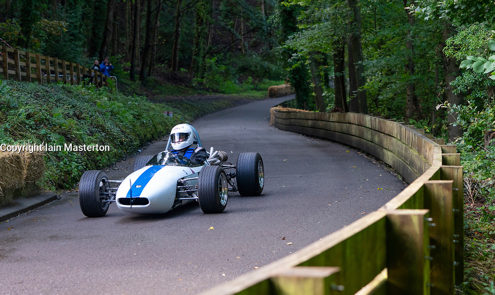 Boness Revival hillclimb motorsport event in Boness, Scotland, UK. The 2019 Bo'ness Revival Classic and Hillclimb, Scotland's first purpose-built motorsport venue, it marked 60 years since double Formula 1 World Champion Jim Clark competed here.  It took place Saturday 31 August and Sunday 1 September 2019. 67 Jim Campbell Crossle 12F