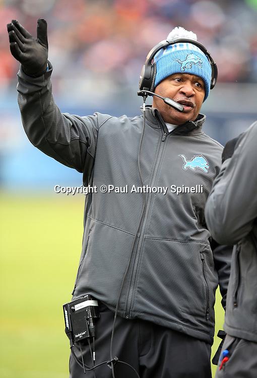 Detroit Lions head coach Jim Caldwell gestures during a sideline during the NFL week 17 regular season football game against the Chicago Bears on Sunday, Jan. 3, 2016 in Chicago. The Lions won the game 24-20. (©Paul Anthony Spinelli)