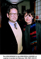 The HON.DOMINIC & the HON.ROSA LAWSON, at a party in London on February 10th 1997.LWJ 21