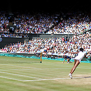 LONDON, ENGLAND - JULY 13:  A general view of Venus Williams of the United States in action against Johanna Konta of Great Britain in the Ladies Singles Semi Final match during the Wimbledon Lawn Tennis Championships at the All England Lawn Tennis and Croquet Club at Wimbledon on July 13, 2017 in London, England. (Photo by Tim Clayton/Corbis via Getty Images)