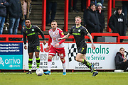 Forest Green Rovers Carl Winchester(7) on the ball during the EFL Sky Bet League 2 match between Stevenage and Forest Green Rovers at the Lamex Stadium, Stevenage, England on 26 December 2019.