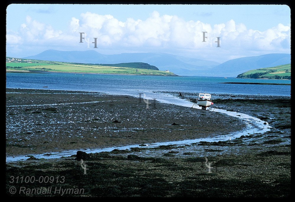 Boat sits marooned by low tide in Dingle Bay near town of Dingle on the Dingle Peninsula. Ireland