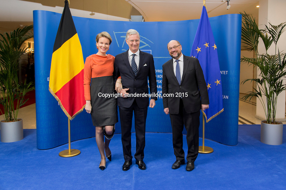 Brussels 25 february 2015 President of the European Parliament Martin Schulz(R) receives King Filip (M) and Queen Mathilde (L) from Belgian at the parliament. Queen Mathilde is on  crutches she after having injured her left knee due to a fall.