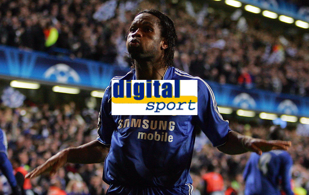 Chelsea FC vs Liverpool FC Champions League S-Final 2nd Leg 30/04/08<br /> Photo Nicky Hayes/Fotosports International<br /> Didier Drogba celebrates scoring Chelsea's 3rd goal.