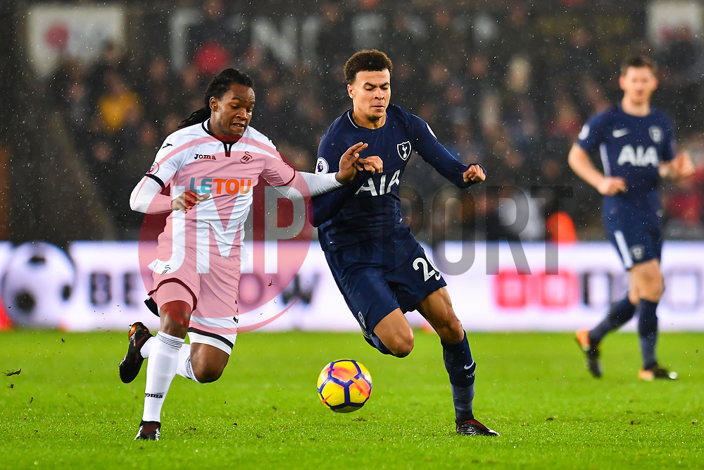 Dele Alli of Tottenham Hotspur battles with Renato Sanches of Swansea City - Mandatory by-line: Craig Thomas/JMP - 02/01/2018 - FOOTBALL - Liberty Stadium - Swansea, England - Swansea City v Tottenham Hotspur - Premier League