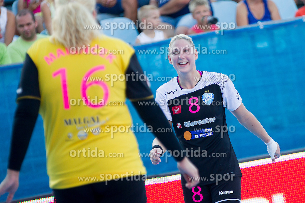 Misa Marincek #16 and Tamara Mavsar #8 of RK Krim Mercator during handball match between RK Krim Mercator vs ZRK Zelene doline Zalec of Super Cup 2015, on August 29, 2015 in SRC Marina, Portoroz / Portorose, Slovenia. Photo by Urban Urbanc / Sportida