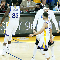 04 June 2017: Golden State Warriors guard Stephen Curry (30) celebrates with Golden State Warriors center JaVale McGee (1) during the Golden State Warriors 132-113 victory over the Cleveland Cavaliers, in game 2 of the 2017 NBA Finals, at the Oracle Arena, Oakland, California, USA.