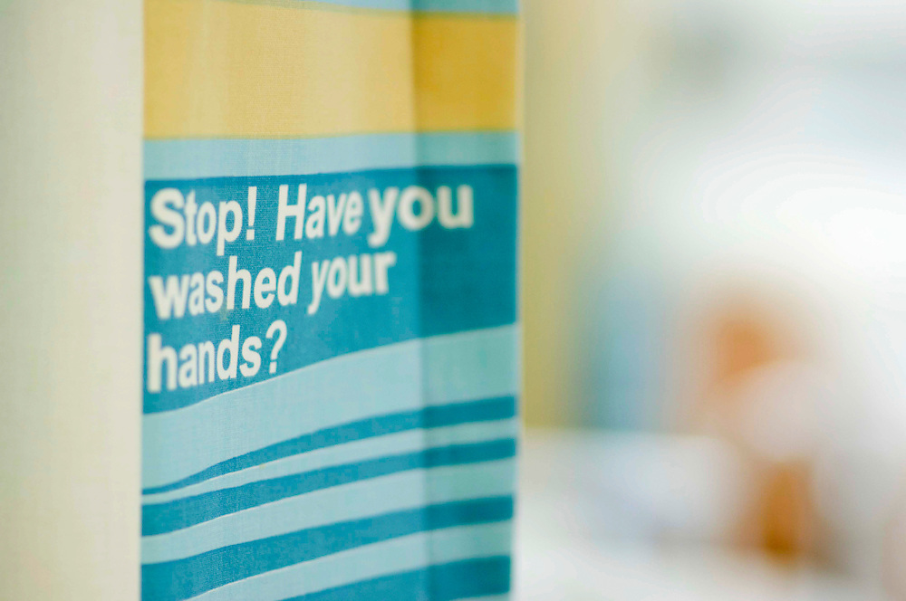 Hospital curtains to remind staff to wash hands