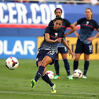 U.S. forward Christen Press (23)  warms us prior to an international friendly soccer match between the United States Women's National soccer team and the Russia National soccer team at FAU Stadium on Saturday, February 8, in Boca Raton, Florida. The U.S. won the match by a score of 7-0. (AP Photo/Alex Menendez)