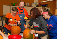 Laconia Middle School pumpkin carving for Pumpkin Fest 2015.  Karen Bobotas for the Laconia Daily Sun