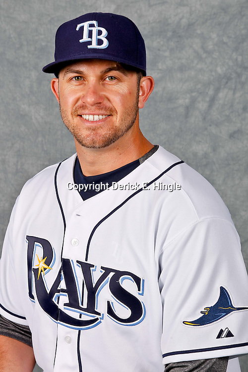 February 29, 2012; Port Charlotte, FL, USA; Tampa Bay Rays third baseman Evan Longoria (3) poses for a portrait during photo day at Charlotte Sports Park.  Mandatory Credit: Derick E. Hingle-US PRESSWIRE