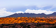 Sunset begins at Arches National Park, Utah, USA