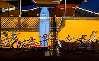 Bicycles and surfboards sit on display to be rented on Speedway near Vince Beach, Wednesday Nov. 8, 2006.