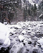 Merced River, Winter, Ice, Snow, Yosemite Valley, Yosemite National Park, California
