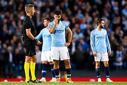 Sergio Aguero of Manchester City cuts a frustrated figure - Mandatory by-line: Robbie Stephenson/JMP - 19/09/2018 - FOOTBALL - Etihad Stadium - Manchester, England - Manchester City v Lyon - UEFA Champions League Group F