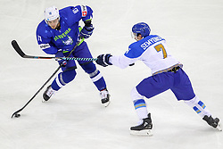 Anze Kuralt of Slovenia vs Maxim Semyonov of Kazakhstan during Ice Hockey match between National Teams of Kazakhstan and Slovenia in Round #4 of 2018 IIHF Ice Hockey World Championship Division I Group A, on April 27, 2018 in Arena Laszla Pappa, Budapest, Hungary. Photo by David Balogh / Sportida
