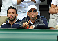 Tennis - 2019 Wimbledon Championships - Week Two, Friday (Day Eleven)<br /> <br /> Men's Singles, Semi-Final: Novak Djokovic (SRB) vs. Roberto Bautista Agut (ESP)<br /> <br /> Roberto Bautista Agut's coach,Tomás Carbonell Pepe Vendrell after winning the second set, on Centre Court.<br /> <br /> COLORSPORT/ANDREW COWIE
