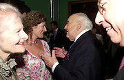 Mary Anne Sieghart and Lord Weidenfeld. Celebration of Lord Weidenfeld's 60 Years in Publishing hosted by Orion. the Weldon Galleries. National Portrait Gallery. London. 29 June 2005. ONE TIME USE ONLY - DO NOT ARCHIVE  © Copyright Photograph by Dafydd Jones 66 Stockwell Park Rd. London SW9 0DA Tel 020 7733 0108 www.dafjones.com