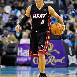 November 5, 2010; New Orleans, LA, USA; Miami Heat point guard Carlos Arroyo (8) during a game against the New Orleans Hornets at the New Orleans Arena. The Hornets defeated the Heat 96-93. Mandatory Credit: Derick E. Hingle
