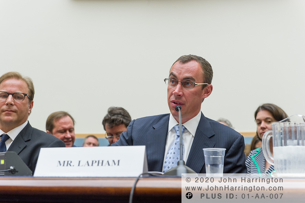 "John Lapham, Senior Vice President and General Counsel, Getty Images, Inc. (right) delivers his testimony as to the U.S. House of Representatives Committee on the Judiciary, Subcommittee on Courts, Intellectual Property and the Internet on the subject ""Innovation in America: The Role of Copyrights"", Thursday July 25, 2013 on Capitol Hill in Washington DC."