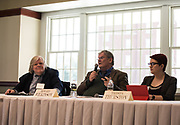 Thomas Suddes, Mr. Howard Wilkinson, and Ms. Trista Thurston, speak and answer questions during the 2018 Baker Peace Conference forum, The Populism, The Press, and The Election of 2016.