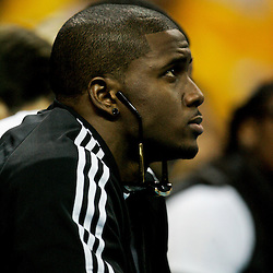 25 April 2009: New Orleans Saints running back Reggie Bush watches courtside during a 95-93 win by the New Orleans Hornets over the Denver Nuggets in game three of the NBA Western Conference quarter-finals playoff at the New Orleans Arena in New Orleans, Louisiana.