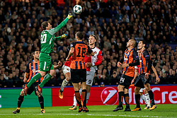 17-10-2017 NED, UEFA CL, Feyenoord - FC Shakhtar Donetsk, Rotterdam<br /> UEFA Champions League Round of 16, 3rd Leg match between Feyenoord vs. Donetsk at the stadion DE Kuip in Rotterdam / Andriy Pyatov #30 of Shakhtar Donetsk, Nicolai Jorgensen #9 of Feyenoord