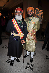 Left to right, HH SHRIJI ARVIND SINGH MEWAR OF UDAIPUR and MAHARAJ KUMAR LAKSHYARAJ SINGH MEWAR OF UDAIPUR at a dinner to celebrate the opening of 'Maharaja - The Spendour of India's Royal Courts' an exhbition at the V&A, London on 6th October 2009.
